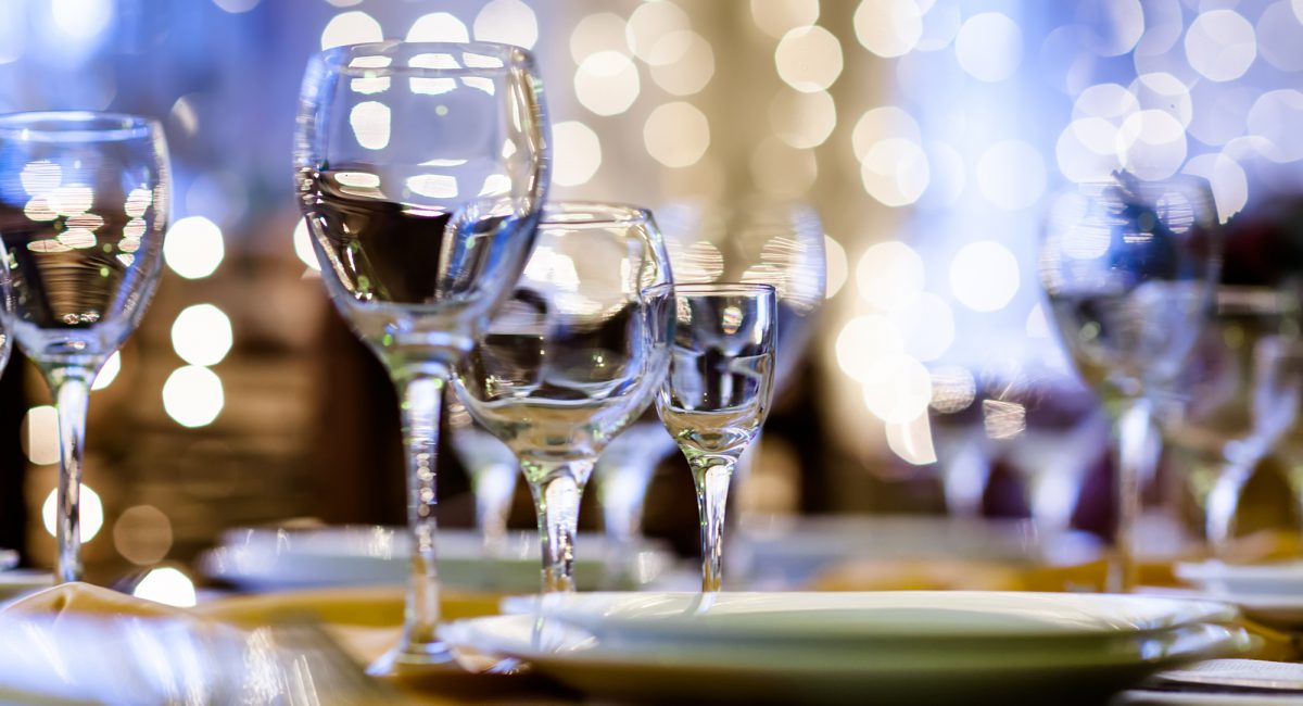 Glasses-on-the-banquet hall-table-chicago